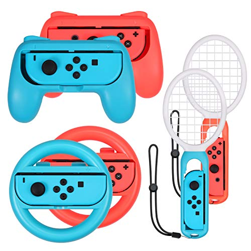 LiNKFOR Accesorios de Joy-Con 2PCS Grip para Mando 2PCS Raqueta de Tenis 2 PCS Volantes Accesorios para Switch 3 en 1 Compatible con Switch Mario Kart Racing - Azul y Rojo