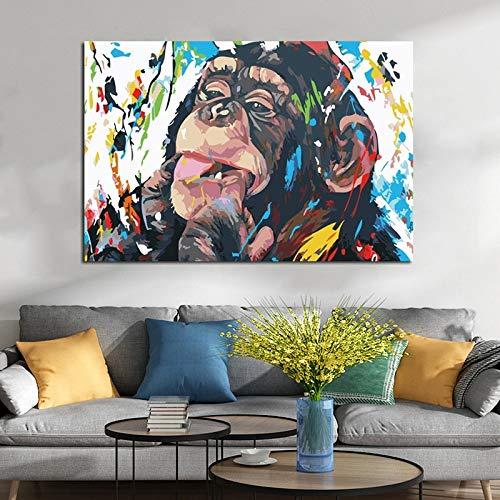 ganlanshu Mono Graffiti Colorido Poster Pinturas al óleo Impresiones y pósters Modernos Cuadros de Pintura para el sofá de la Sala de Estar,Pintura sin Marco,70x100cm