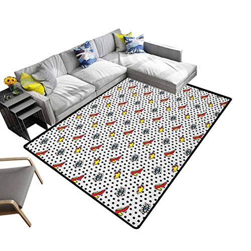 Rug Pad Retro, Premium Non Slip Rug Blue Eyes Crowns and Womens Shoes Icons Doodle in Cartoon Pop Art 80s 90s Style for Bedroom Playroom Nursery, Best Shower Gift Multicolor, 3 x 5 Feet