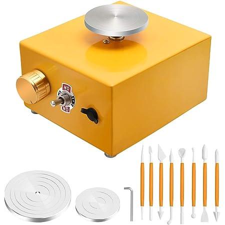 US Plug MAGT Mini Pottery Wheel Ceramic Machine Mini Electric Pottery Wheel Ceramic Machine Mini Pottery Wheel Machine for Clay Art DIY Craft 110-240V