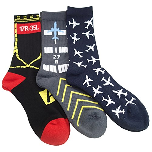 Set of 3-Pairs, Aviation-Themed Premium Crew Socks
