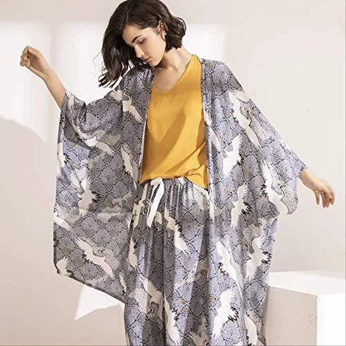 XFLOWR Daily Spring Autumn Conjunto de Pijama para Mujer Conjunto de 4 Piezas para Dormir de Estilo casero Dulce Hojas Sueltas Ropa de Dormir Mujer L ph-01