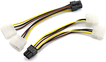 DZS Elec 2pcs Dual Molex 4-Pin IDE Male to 6-Pin Male PCI Express Power Converter Cable for Video Card Pci-e ATX PSU Power Supply - 2X Molex to PCIe Adapter 15cm