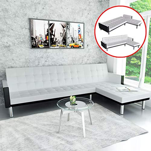 Unfade Memory Lshaped Sofa Bed Couch Sleeper Daybed Convertible Sectional Sofas, Reclining Backrests, Artificial Leather (White and Black)