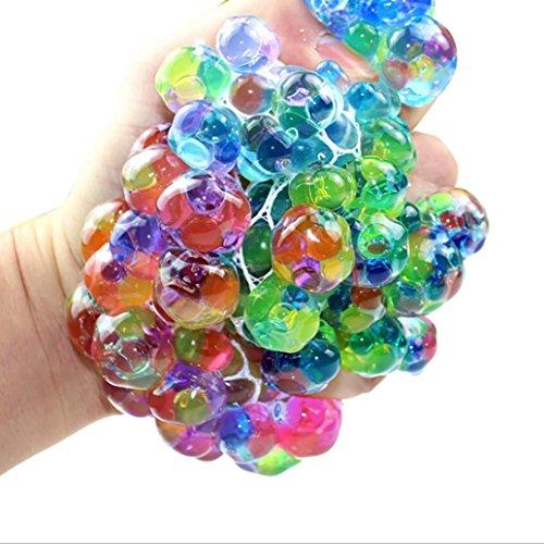 Sunnymi Extrusion Squishy LED leuchtet Drücken Traube Spielzeuge Schöne Mesh Ball Anti Stress Ball Squeeze Puppe Creme duftenden Stress Relief Spielzeug (Mehrfarbig)