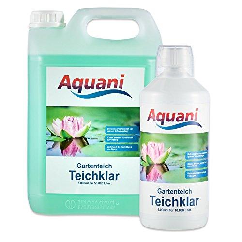 Aquani Teichklar 1000ml Algenmittel gegen grünes und trübes Wasser im Teich mit Schwebealgen Algen, auch ideal als Teichklärer Algenentferner im Koi und Schwimmteich