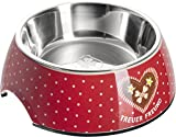 HUNTER ADELHEID Treuer Freund Melamin-Napf, Futternapf, Trinknapf, für Hunde und Katzen, mit Edelstahlnapf, 160 ml, rot