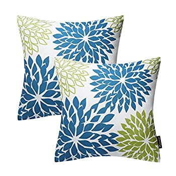 Phantoscope New Living Blue&Green Decorative Throw Pillow Case Cushion Cover Dahlia-BG