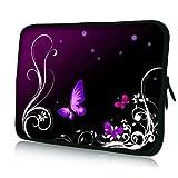 Pedea - Funda de Neopreno para Tablet o portátil (10,1'/25,6 cm), diseño de Mariposa, Color Morado y Negro