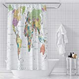 OERJU World Map Shower Curtain Educational Geography Countries Colorful Bath Curtain Waterproof Polyester Fabric Bathroom Decor Set with Hooks 72x72inch Hotel Quality