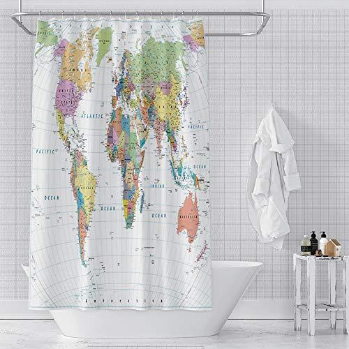 OERJU Duschvorhang Weltkarte auf weißem Hintergr&, wasserdichter Polyester-Stoff, Badezimmer-Dekor-Set mit Haken, 182,9 x 182,9 cm