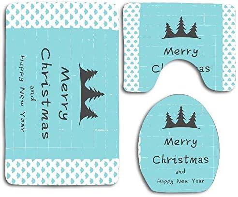 NA Vrolijk kerstfeest Gelukkig Jaar Kerstboom Blauw 3 Stks Badkamerset Rug Contour MatToilet Deksel CoverBadmatten