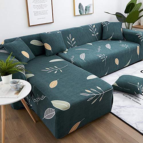 Funda Sofa 4 Plazas Chaise Longue Verde Oscuro Fundas para Sofa con Diseño Elegante Universal,Cubre Sofa Ajustables,Fundas Sofa Elasticas,Funda de Sofa Chaise Longue,Protector Cubierta para Sofá
