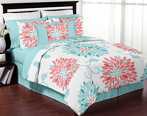 teal and coral quilt - 3