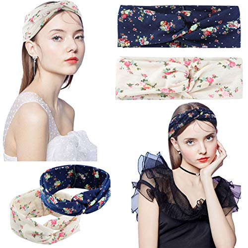 2 Pcs Headbands for Women Boho Floal Style Criss Cross Head Wrap Hair Band (Navy & Beige) …