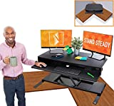 Flexpro Power 40 Inch Electric Corner Desk   2 Level Standing Desk Converter with Quiet Height Adjustments   Large Dual Level Sit to Stand Workspace   Great for Cubicles! (Corner / 40')