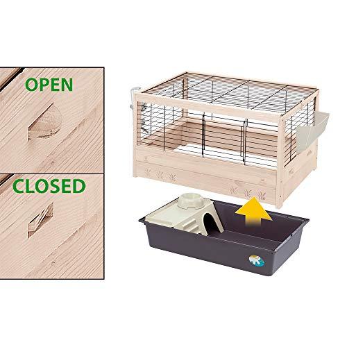 Ferplast Jaula de Madera FSC para Conejos Arena 80, Conejillos de Indias, Accesorios incluidos