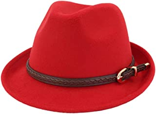Jazz Hat Women Men Fedora Hat with Punk Belt Winter Fascinator Casual Hat (Color : Red, Size : 56-58)