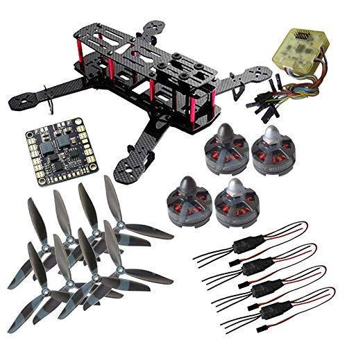powerday DIY QAV250 ZMR250 Quadcopter Vollkarbon Rahmen-Kit & Tarot MT2204Ⅱ 2300KV Motor & Simonk 12A ESC & CC3D Flight Controller & 6045 (CW + CCW) 3-Klingen-Propeller