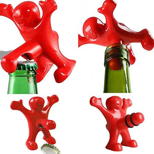 Gi.sta DOBO® Apribottiglie cavatappi e Tappo ermetico di Chiusura Vino Birra Sexy omino Felice Party Festa Facile da Usare per Vini Birre - Colore Rosso (Kit Completo cavatappi + Tappo ermetico)