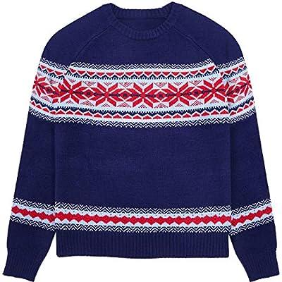 Blueberry Pet Men's Holiday Chic Secret Fair Isle Style Pullover Jumper in Navy Blue, Medium