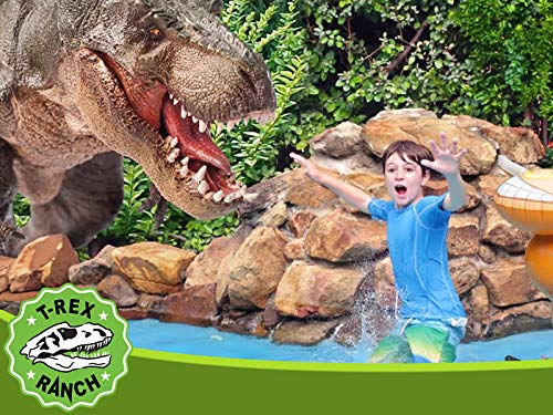 Dinosaur at the Pool with Baby T-Rex