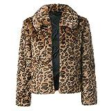 Luckycat Moda Mujer Estampado Leopardo Invierno con Capucha de Manga Larga Abrigo cálido