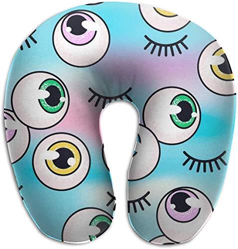 Hdadwy Memory Foam Neck Pillow Eyeballs On A Holographic U-Shape Travel Pillow Ergonomic Contoured Design Washable Cover for Airplane Train Car Bus Office