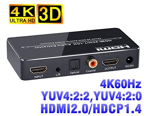 BLUPOW 4K60Hz HDMI音声分離器「HDMI入力 → HDMI+同軸・光デジタル+3.5mmアナログ音声出力」hdmi 分離 音声 hdmiサウンド分離器 hdmi分配器 hdmiデジタルオーディオ分離器 4K・3D対応 VA86