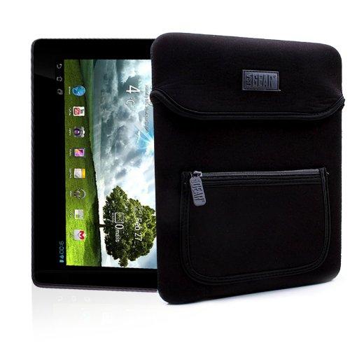 USA Gear FlexARMOR Schutzhülle – 10 Zoll-Tablet Tasche aus Neopren mit zusätzlicher Zubehör-Tasche und Griff, Schwarz