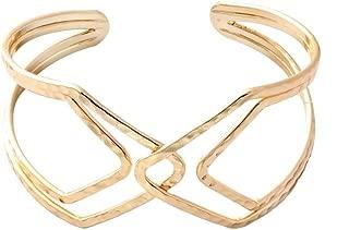 Women Wide Hollow Cuff Bangles Statement Jewelry Punk Copper Opening Bangle Bracelets