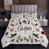 Mädchen Weihnachten Bettüberwurf 240x260cm Weihnachtsbäume Steppdecke für Kinder Süße Ornamente Bälle Süßigkeiten Tagesdecke Winterstern Schneeflocke Bettdecke Stepp Decke