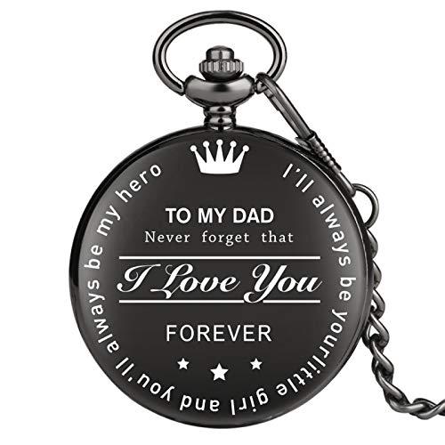 TO MY Dad Reloj de cumpleaños Regalos para Padre Reloj Colgante de Bolsillo Retro Números Romanos Display DialCadena Negra TOMYDAD