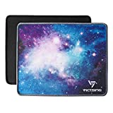 VicTsing Mouse Pads [2-Pack] with Stitched Edge, Premium-Textured Mouse Pad Mat, Non-Slip Rubber Base Mousepad for Laptop, Computer & PC, 10.2×8.3×0.08 inches, Black+Blue