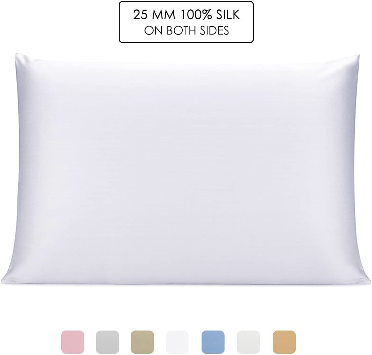 OLESILK 100% Mulbery Silk Pillowcase with Hidden Zipper for Hair and Skin Beauty,Both Sides 25mm Charmeuse Gift Box - White, Toddler