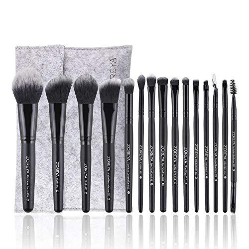 pinceaux de maquillage professionnels, synthétiques qualité supérieure pour fond teint, blush, correcteurs les yeux Costume de 15 pièces, noir