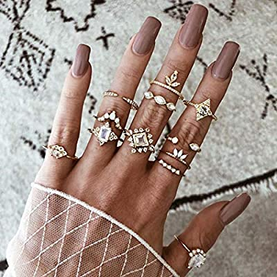 Nicute Boho Gold Stackable Joint Knuckle Ring Rhinestone Vintage Carving Finger Rings Set for Women and Girls(12 Pieces)