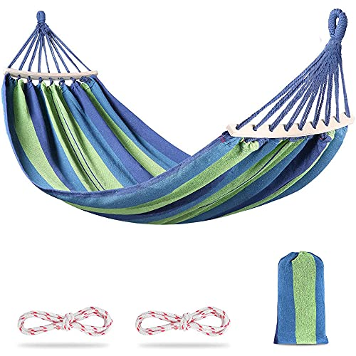 LLHM Camping Hammock Straps Cotton Canvas Beach Swing Bed Swing Beach with Spreader Bar per Il Cortile Porch Balcony Indoor-Blu_190 * 80 cm   75 x 31in