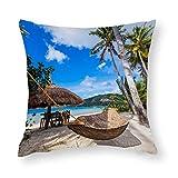 Tropics Palm Trees - Hamaca de playa con diseño de palmeras, color azul cielo