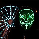 HONGXUNJIE LED Purga Mascara Carnaval Terror MáScaras,MáScara Disfraz Luminosa,para Carnival Navidad Halloween Cosplay Grimace Festival Fiesta Show Mascarada (Green)