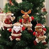 4pcs y adornos de Navidad para el hogar árbol Adornos de tela baile Santa Claus muñeco de nieve de...