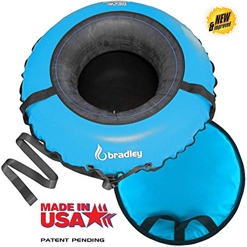 """Bradley Deluxe Towable Snow Tube Sled and Heavy Duty Cover (50"""" Blue)   Made in USA"""