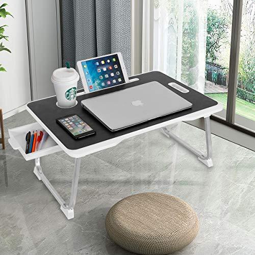 CHARMDI Laptop-Schreibtisch, tragbarer Laptop-Betablett, Schoßpult, Couch-Tisch, Bett-Schreibtisch, Laptop-Schreibtisch mit Seiten-Schublade für Bett/Sofa, schwarz und weiß