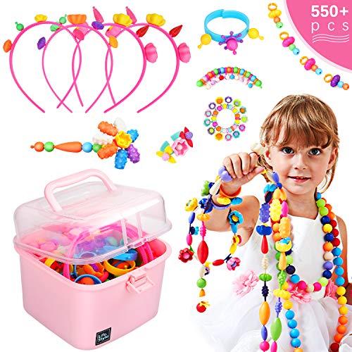 Ucradle Pop Beads, 550pcs Niños Bricolaje Joyería Snap Pop Beads DIY Kit Pulsera Anillo de Collar Juguetes Regalos de Cumpleaños de para 3,4,5,6,7,8 Niños Niñas