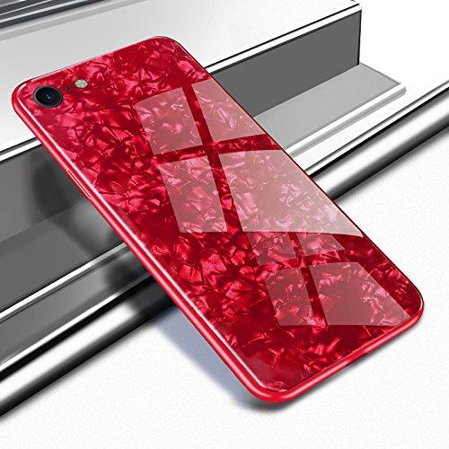 Yobby Glas Hülle für iPhone 7, iPhone 8 Rot Handyhülle Kristall Funkeln Glitzer Muster Schlank Weich TPU Bumper Schutzhülle Reflektierend Glänzend Spiegel Rückseite