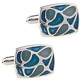 CIFIDET Gemelos Mancuernas azules del mapa del mundo joyer/ía de la camisa de los hombres de la moda con la caja de regalo