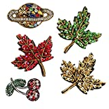Sequin Beads Rhinestone Patches Sewing On for Clothing Maple Leaves Cherry Earth Applique Patch Sticker DIY No Glue 5 Pcs (Style 2)