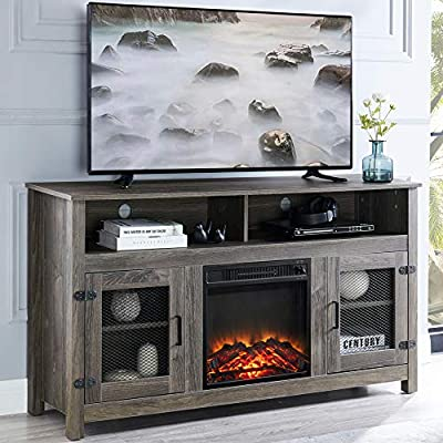 """GOOD & GRACIOUS Tall Farmhouse Metal Mesh Barndoor TV Stand and Electric Fireplace, Fit up to 65"""" Flat Screen TV with Cabinet and Adjustable Shelves Entertainment Center for Living Room, Grey"""