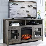 GOOD & GRACIOUS Tall Farmhouse TV Stand with Electric Fireplace, Fit up to 65' Flat Screen TV with Cabinet and...