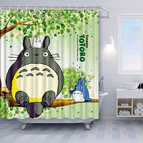 Brandless Mein Nachbar Totoro Duschvorhang Cartoon Cute Totoro Sitzt Auf GrüNen BäUmen Badezimmer Vorhang-B180xH180cm